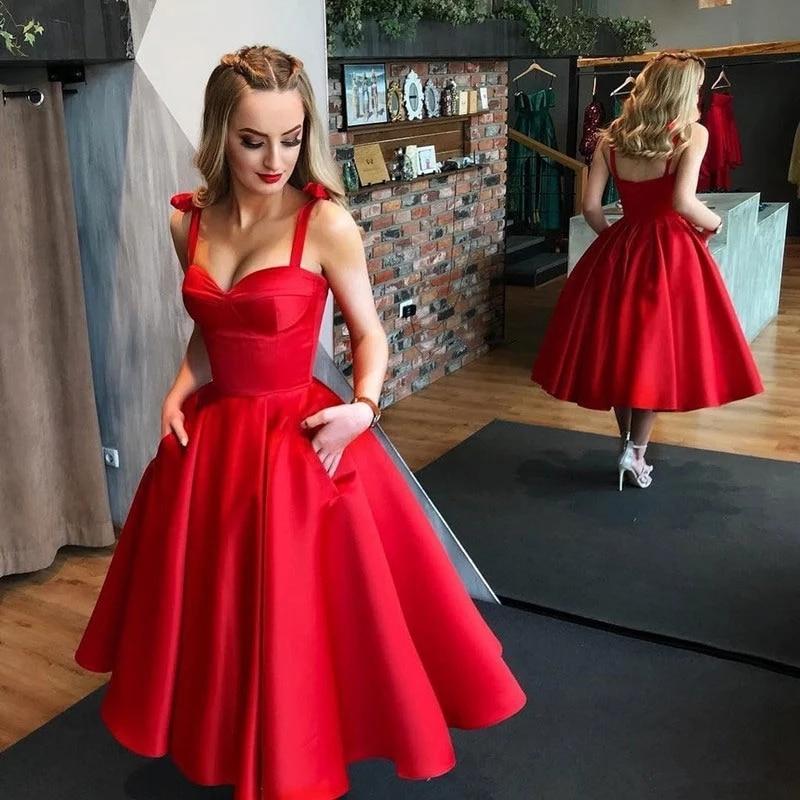 Красное платье на выпускной в школу.